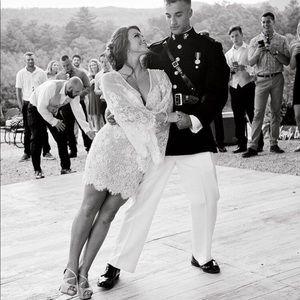 Sherri Hill Short Lace Wedding Reception Dress